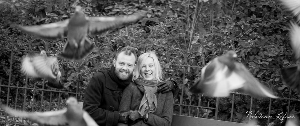 portraits de couple avec pigeons